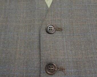 Vintage PLAID Brown Wool Vest sz 42 waistcoat WEDDING