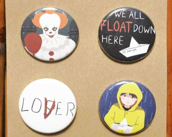 It (Stephen King) Pin/Button Set - Pennywise, Georgie, Loser/Lover, We All Float Down Here