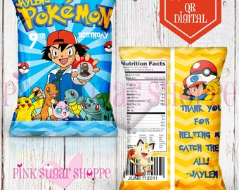 Pokemon Favor Bags - Custom Chip Bags - Pokemon Birthday - Pokemon Party - Digital - Printable - Printed - Chip Bags