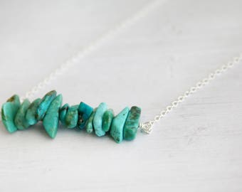 Turquoise bar necklace, gemstone necklace, gifts for her, December birthstone jewelry, minimalist jewelry, December birthstone, turquoise
