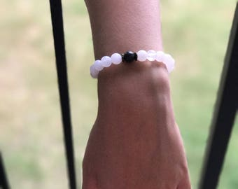 White Beaded Bracelet | Boho Earthy Bead Bracelet, Stackable Bracelets, White and Black Bead Bracelet | Yoga Jewelry Gifts For Less