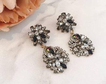 Black & Gold Rhinestone Drop Earrings    Statement Earrings    Statement Jewellery