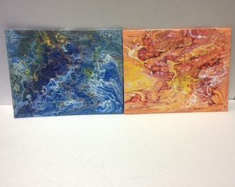 Blue and orange abstract paintings