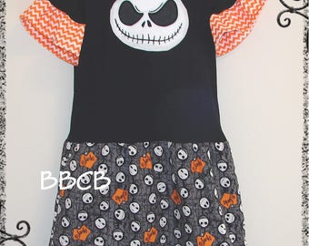 Girls Nightmare Jack Tunic Shirt Dress - fits 7/8 - Birthday - Casual - Halloween - Back to School - Skulls
