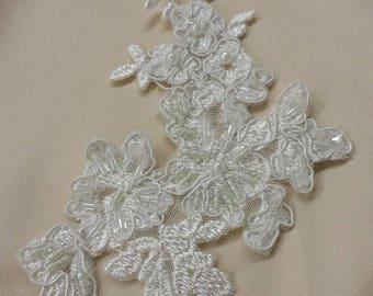 Ivory Lace applique, Beaded lace applique, French Chantilly lace applique, 3D lace, bridal lace applique K717