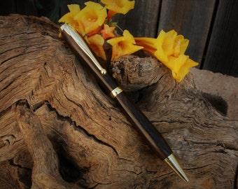 Ziricote wood pen with gold