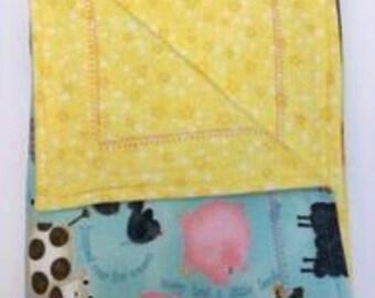 Baby Blanket, Yellow, Nursery Rhyme, Flannel, Double Layered Reversible,  Gender Neutral, Self Binding, Receiving Blanket Gift