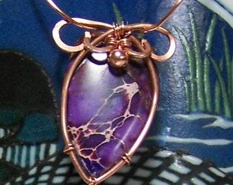"""1"""" X 3/4"""" Purple Impression Jasper & Copper Pendant"""