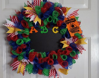 Primary Red Green Blue School Teacher Appreciation Curly Spiral Deco Mesh Wreath Rockstar At Work Chalkboard Center