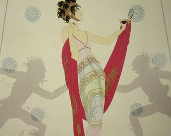 Erte, Erte print, Art Deco, Art Deco print, Erte painting, Home decor, Wall decor, Wall hanging, Vintage book page print, vintage
