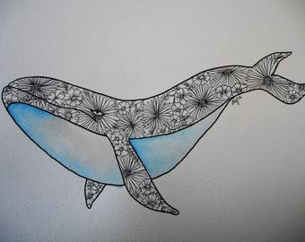 Watercolour Whale with Flowers in Pen