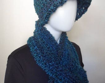 Hat / Scarf / Fingerless Mittens / Crochet / Winter / Women / Wool-free / Gift / Boho / Hippy / Artist