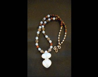 Opal Goddess pendant necklace from Opalite art glass strung with semi-precious stone beads. Item #167.