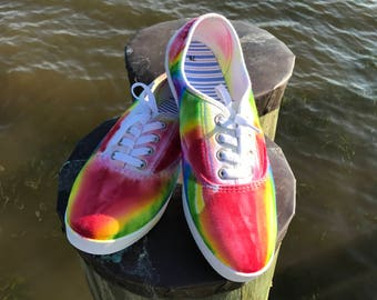 Rainbow Tie Dye Shoes for Summer - Size 7
