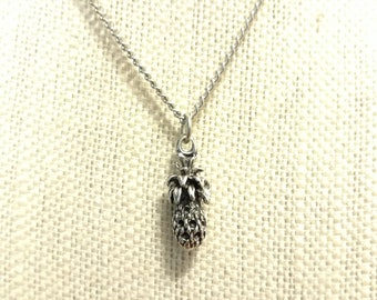 3D Silver Pineapple Necklace