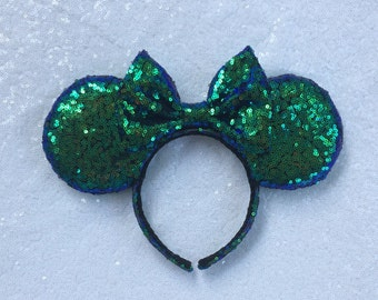 Holographic Sequin Blue/Green Minnie Mouse Ears, Mickey Sequin Ears,Sequin Ears