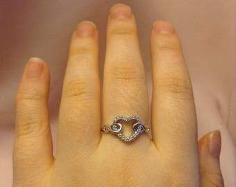 Heart Ring ~ Cubic Zirconia Heart Ring ~ Linked Heart Ring