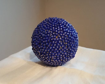 Blue and Silver Decorative Beaded Ball