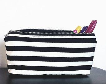 Striped Print Pencil Pouch, Cute Pouch, Makeup bag, cosmetic bag, Pencil case