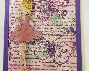 Hand painted and stamped Blank card with Dimension added girl.