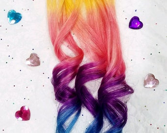 "Set of 4 - 18"" Rainbow Purple Pink Blue Unicorn Ombre Real Human Hair Extensions Clip In Extensions Dyed Extension Festival Hair Weave Boho"
