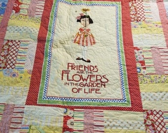 Twin quilt Friends are Flowers