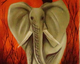 Elephant Painting, African Art, Sunset Art, Safari Decor, Wildlife Painting, Tanzanian Art, Nursery Decor, African Elephant