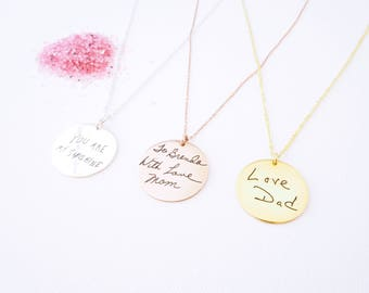 30% OFF ** Custom Actual Handwriting Disc Necklace - Personalized Circle Necklaces - Memorial Gift - Bridesmaid Jewelry - Mother Gift