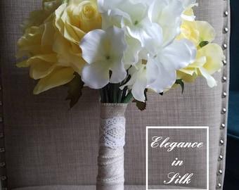 Yellow & White Bouquet, Bridal Bouquet, Wedding Bouquet, Rustic, Burlap, Lace