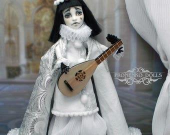 """Monster High OOAK custom doll repaint  Spektra Vondergeist """"Poor Sad Pierrot"""""""