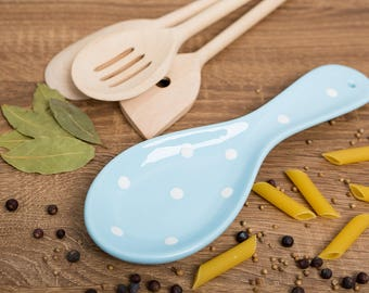 City to Cottage Light Sky Blue And White Polka Dot Handmade Hand Painted Ceramic Kitchen Cooking Spoon Rest