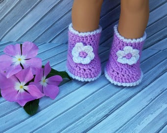 18 inch Doll Shoes/Doll booties/Doll Clothes/Flower shoes/18 inch Doll Boots/Doll shoes/18 inch Doll Clothes/Doll Accessories/Doll Clothing