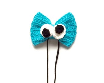 Cookie Monster Headband Bow, Cookie Hair Bow, Character Hair Bow, Hair Bows, Kids Hair Band Bows, Monster Hair Bow, Blue Monster Accessories