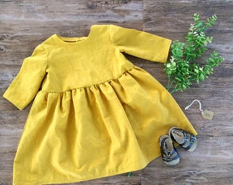 Mustard Yellow Dress, Toddler Fall Dress, Baby Girl Mustard Yellow Dress, Linen Fabric Fall Toddler Dress, Mustard Yellow Peasant Dress