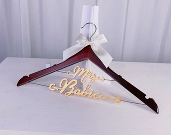 Wedding Hanger for Bride or Bridesmaid, Personalized Wedding Hanger, Bridal Hanger, Bridal Shower Gift for Maid of Honor, Future Mrs.  MG015
