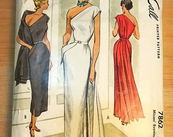 Collectible, Vintage Sewing Pattern, McCall 7862, Misses Evening Dress, 1940's