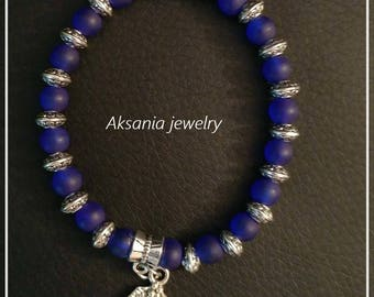 6mm bead blue cobalt bracelet  Charms and gemstone