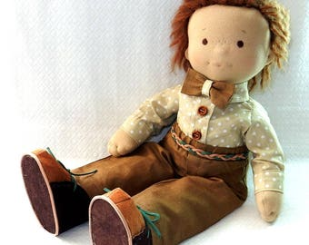 Waldorf Doll Boy Wabi Sabi doll Soft Doll For Boy 18 Inch Doll Nature toy Waldorf doll in linen trousers and shirt Doll Role Play Sons Gift