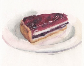 Original watercolor painting with a piece of berry pie / Food art / Realistic painting /  Kitchen wall decor / Dessert painting / Sweets