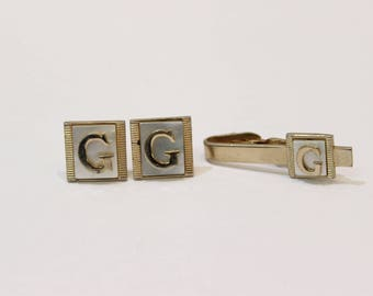 Vintage G Mother of Pearl Cufflinks and Tie Clip
