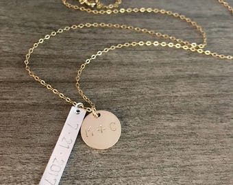 Personalized Bar And Disc Necklace. Gold Filled And Sterling Silver. Personalized Jewelry