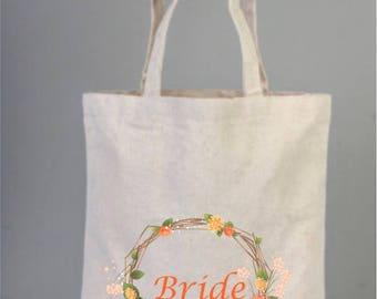 Bridal Bags, Canvas Bride Bag, Bridesmaid Bag, Bridal Gifts, Canvas Bridal Bag, Cotton Bridal Bag, Tote Bag, Wreath Bag, Bridal Shower Gifts