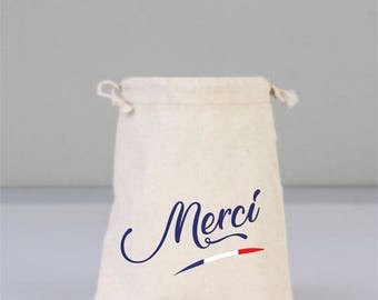 Merci, Merci Bag, Drawstring Mini Favor Bags, Wedding Party Favor, French Bags, Wedding Gifts, Bridal Shower Gifts, Cotton Bags, Welcome Bag