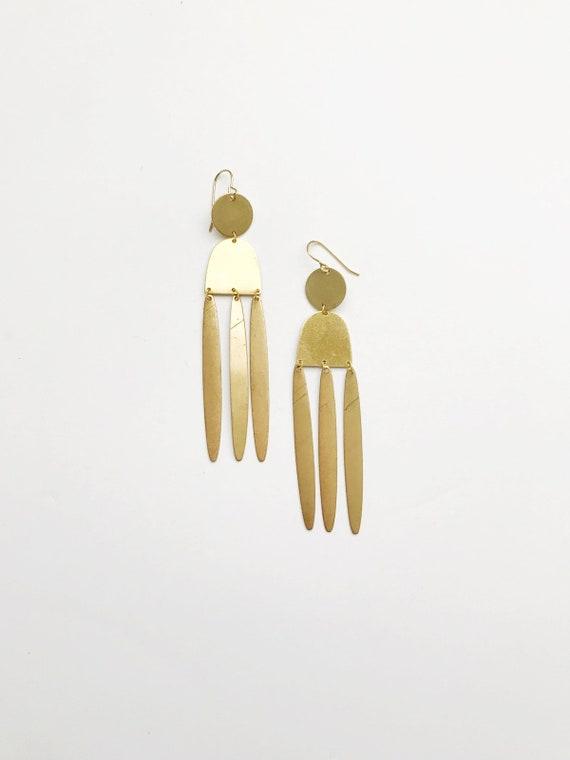 Long Brass Fringe Earrings