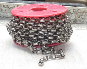 12mm Rounded Rectangle Rolo Chain Antique Silver