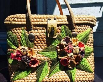 1940s embroidered wicker handbag