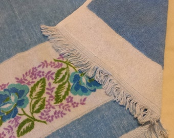 Blue Floral Band Bath Towel