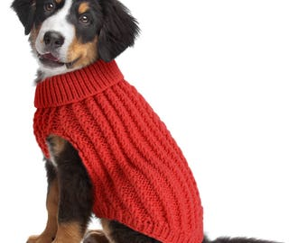 Dog Cable Knit Jumper Coral Red Design