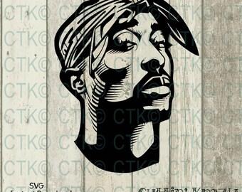 SVG Cut File, Cricut, Tupac, Rap, Celebrity, Music, File, T-Shirt, Mug, Cup, Tumbler, Tupac face