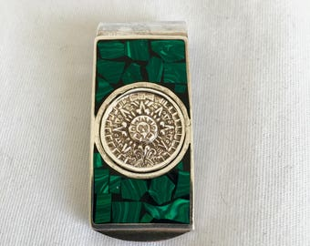 Sterling Silver Money Clip, Inlaid Malachite, Mayan Calendar, Taxco Mexico, 925, Vintage